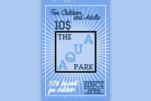 Color vintage aquapark banner