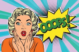 oops pop art blond woman