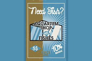 Color vintage aquarium shop banner