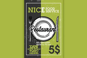 Color vintage restaurant banner