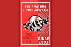 Color vintage sport goods banner