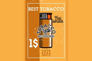 Color vintage tobacco shop banner
