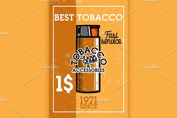 Color Vintage Tobacco Shop Banner