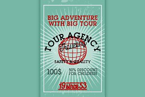 Color vintage tour agency banner