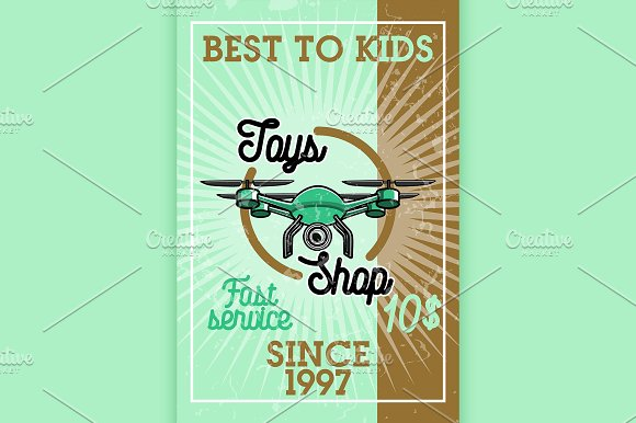 Color vintage toys shop banner