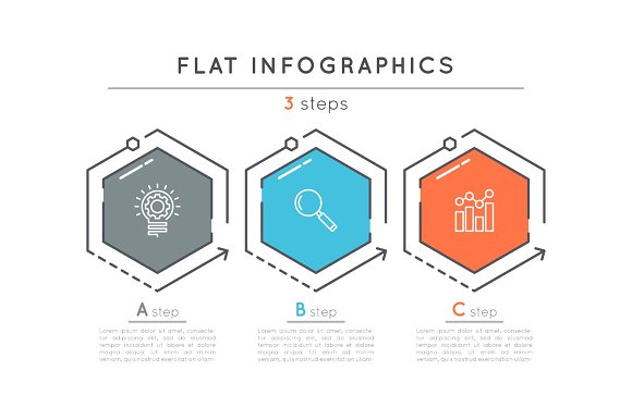 flat style 3 steps timeline infographic template illustrations