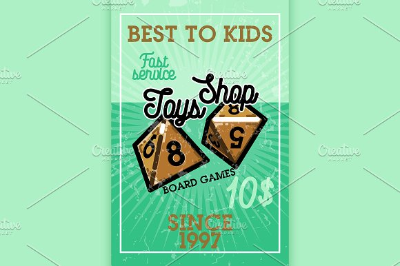 Color vintage toys shop banner in Illustrations