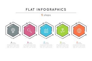 Flat style 5 steps timeline infographic template.