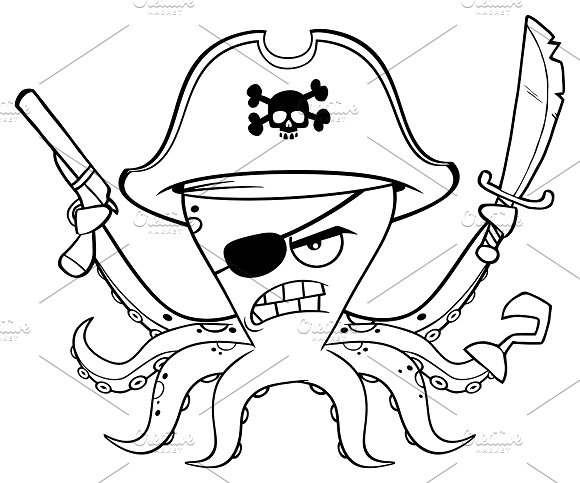 Black And White Pirate Octopus