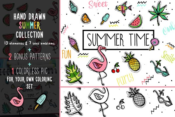 Summer and Flamingo Graphic set