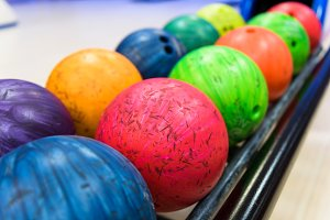 Colorful bowling balls