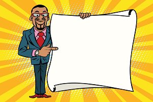 African American businessman showing on copy space background