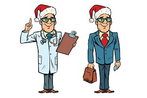 Happy Christmas doctor and businessman
