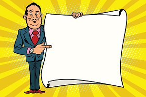 Smiling businessman boss showing on the mockup copy space poster