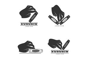 Hand fidget kururin logo set vector illustration