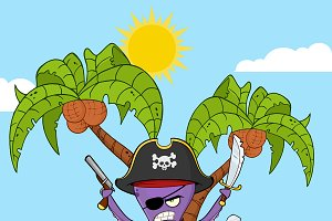 Pirate Octopus Cartoon Character