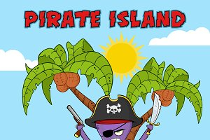 Pirate Octopus On A Tropical Island