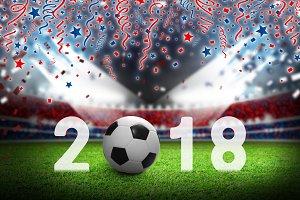 Soccer ball 2018 in stadium