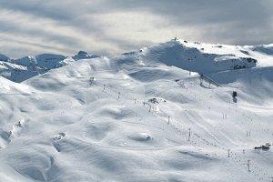 Ski slopes panoramic view