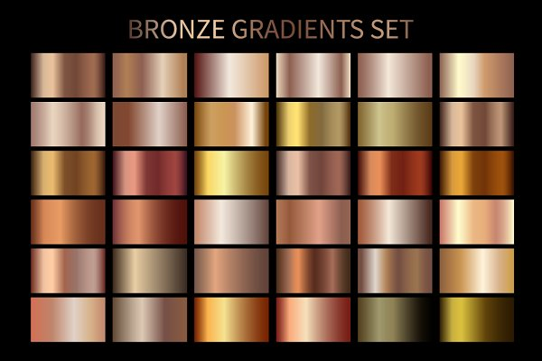Photoshop Gradients - Set of Bronze Gradients .AI .GRD