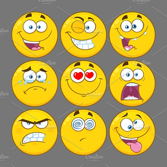 Yellow Emoji Face. Collection 1