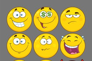 Yellow Emoji Face. Collection 2