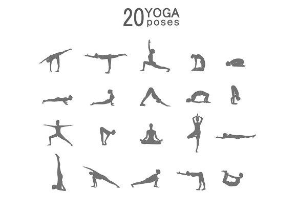 Yoga poses silhouette.