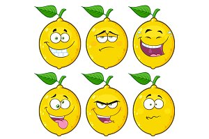 Yellow Lemon Emoji Face. Collection