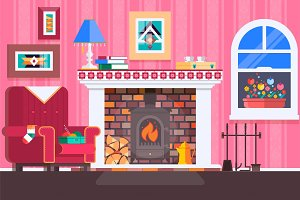 Room interior fireplace design with chair books, table, clock in evening tea time, fireplace. Flat vector illustration