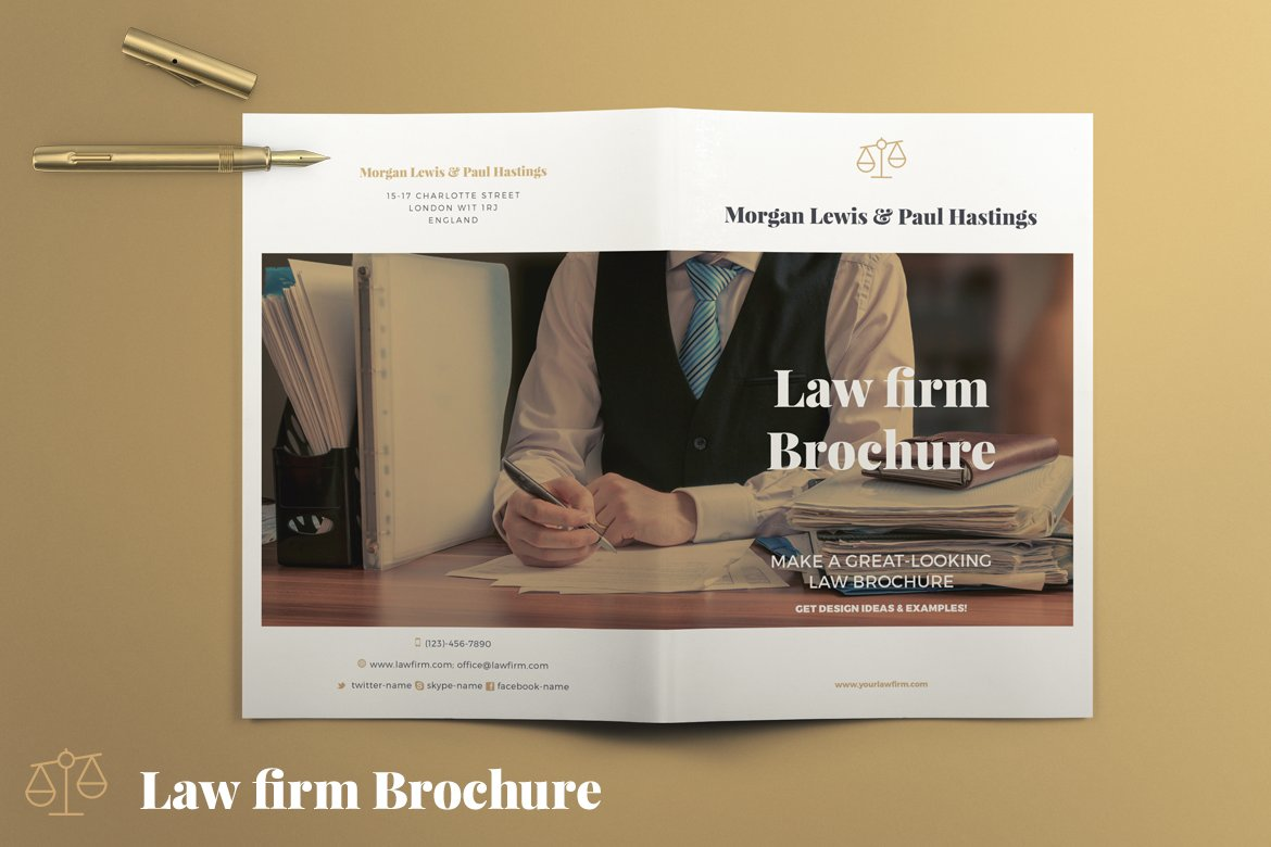 Law firm brochure brochure templates creative market for Legal brochure template