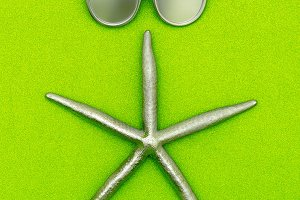 Starfish and sunglasses. Silver.