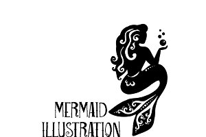 Mermaid with Bubbles Illustration