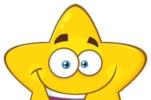 Happy Yellow Star Character