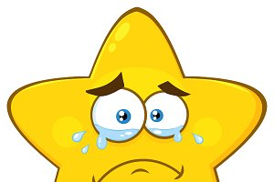 Crying Yellow Star With Tears
