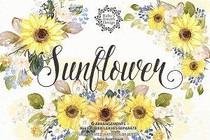 -50%Watercolor Sunflower design
