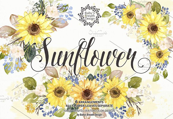 Watercolor Sunflower design