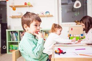 Preschoolers in kindergarten