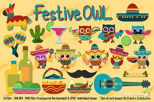 FestiveOWL Digital Clipart