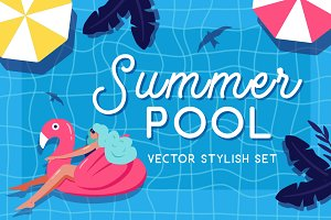 Summer pool - vector set