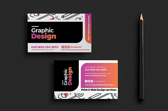 Graphic designer business card business card templates creative graphic designer business card business card templates creative market wajeb Image collections