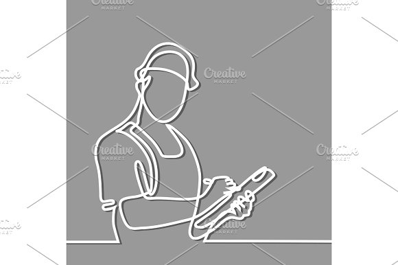 Standing builder man holding tablet in Illustrations