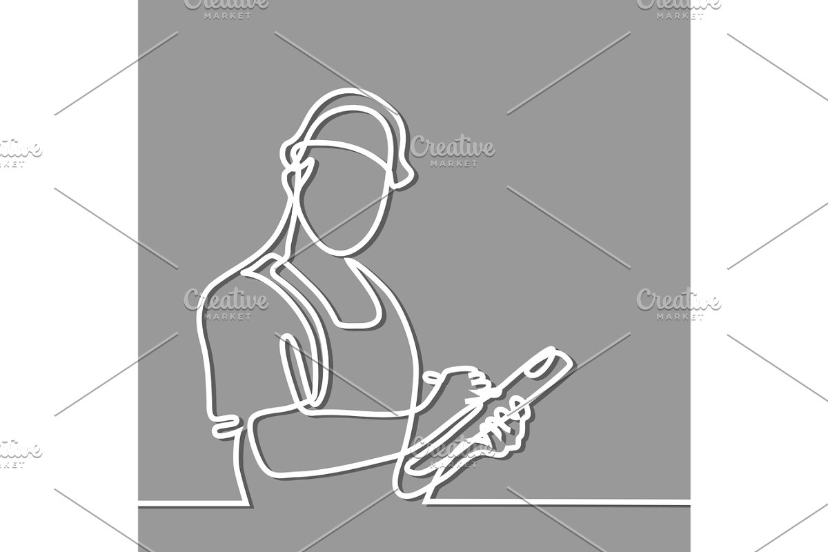 Standing builder man holding tablet in Illustrations - product preview 8