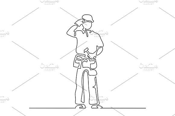 Standing Builder Man Holding Hammer
