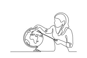 Teacher with pointer and globe.
