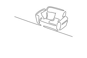 Continuous line drawing. Interior with sofa