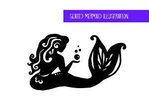 Seated Mermaid Illustration