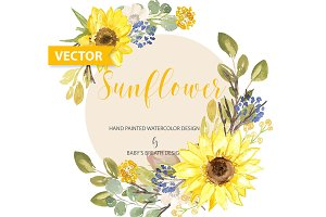 Vector Watercolor Sunflower design