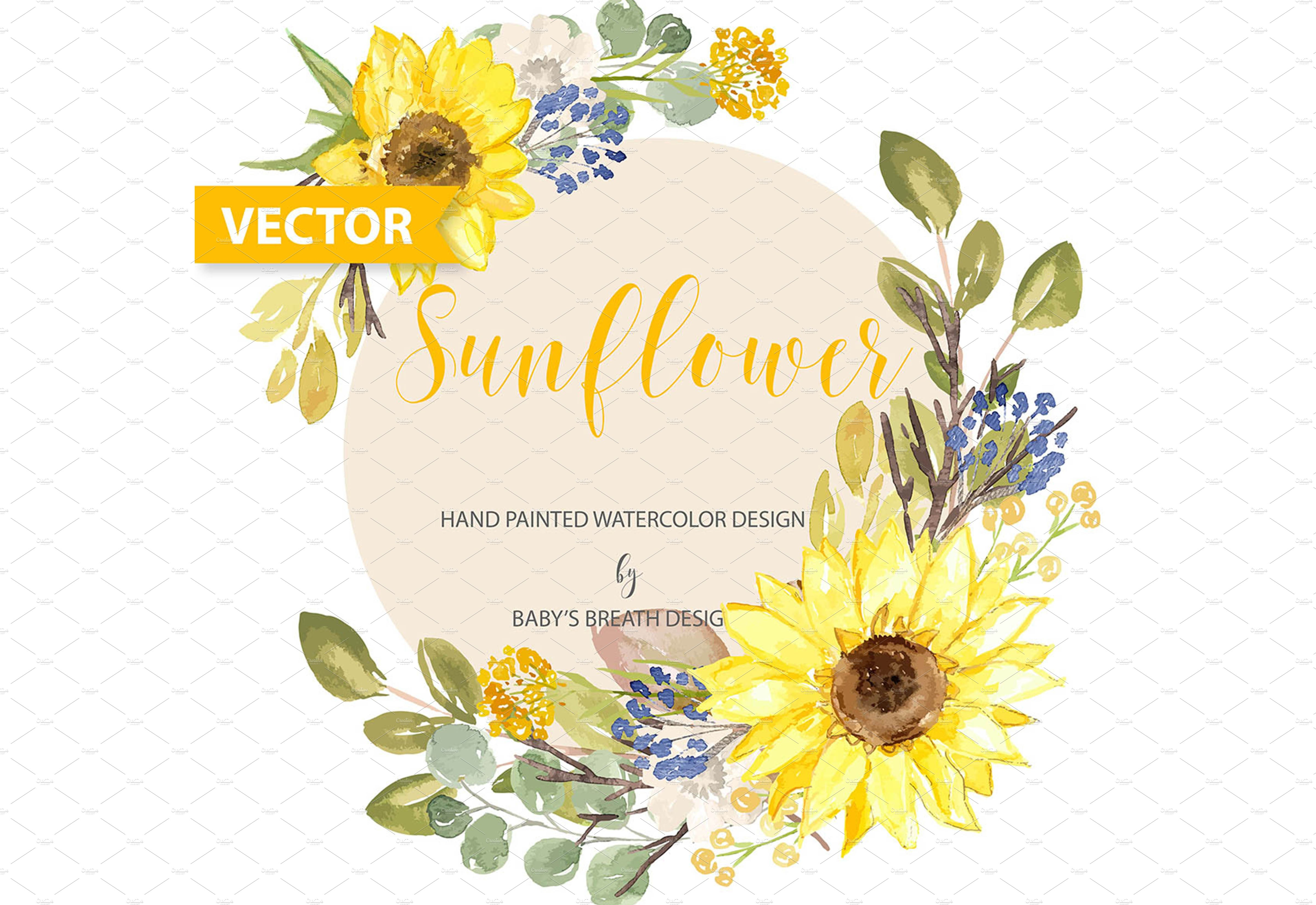 -50% Vector Watercolor Sunflower ~ Illustrations ...