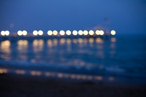 Romantic pier at night