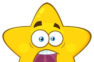 Scared Yellow Star Character
